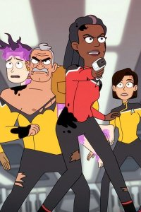 A group of Starfleet officers in mid-combat.