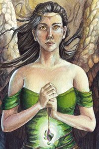 A winged woman with long dark hair clasps a necklace.