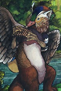 A gryphon-eqsue mythological mix plays the pipes.