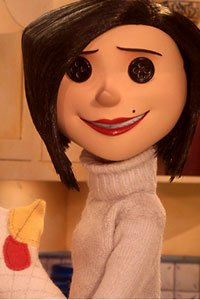 Coraline's other mother, with her big smile and button eyes.