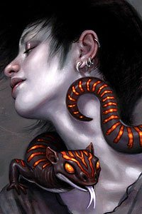 A black-and-red-striped salamander curls around a pale contented woman's neck.
