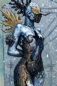 A female form composed of frost, bark and leaves stands in a winter scene.