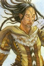 An female Inuit wind giant stands, long dark hair trailing behind her.