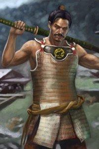 A asian warror rests his sword on his shoulders.