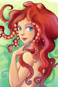 A young woman with a brownish-orage octopus on her head.