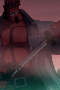 Helloboy wields a katana in the fog.