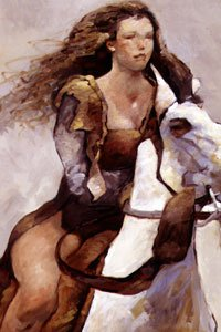 A woman with long brown hair rides a white horse.