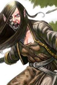 A woman with pointed ears and long black hair yells as she attacks.