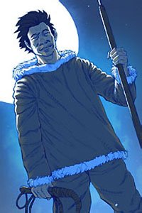 An Innuit man stands holding a spear and whip.