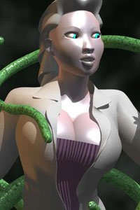 A pale Chinese woman in a purple corset and long coat is surrounded by green tentacles.