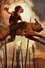 A young boy and a dog leap over a group of spears.