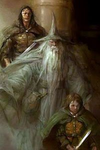 Gandalf, Frodo and friend from Tolien's Lord of the Rings.