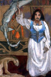 A woman in a blouse and vest calmly wrestles with nightmare creatures.