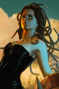 A slender woman with snakes for hair stands defiantly.