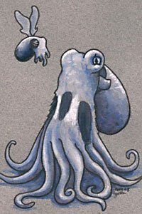 A small winged cuttlefish floats in front of a large octopus.