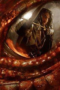 A brave archer faces down a fierce red dragon.