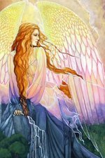 A majestic winged woman surounded by earth, wind, water and fire.