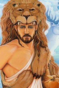 A well-muscled man with a black beard wearing a lion's pelt.