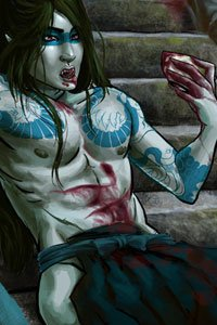 A tattooed vampire lazily sips blood from a cup.