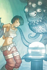 A young woman is held captive by a tentacled monster near a large glowing orb.