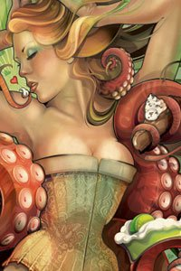 Echo Chernik's Pie Cthulu shows a lovely woman wearing a corset in the embrace of a large octopus' tentacles.