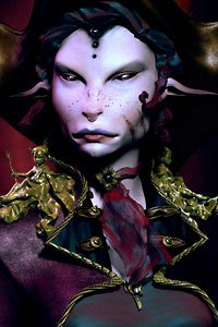 A purple-skinned alien woman wears an elaborate headdress.