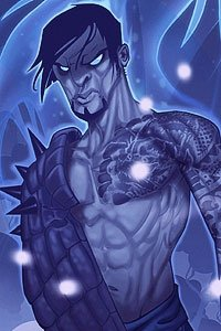 A muscular man with glowing eyes and intricate tattoos stands ready.