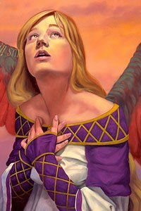 A blond woman with wings in a purple and white dress looks hopefully upward.