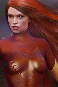 A red-haired woman in shiny read leather looking very grouchy.