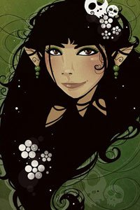 An elf girl with long black hair.