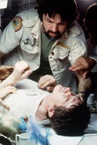 The chestburster impending arrival in Alien.