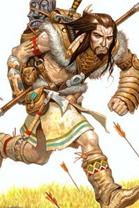 A barbarian man wearing animal hides runs from falling arrows.