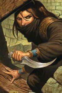 A masked rogue advances dagger drawn.