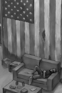 A tattered U.S. flag hangs on a wall, with a man lounging on a sofa below.