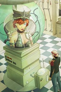A man stands before a large bubble-enclosed futuristic bust of a large woman.