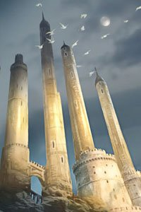 Tall white towers stretch into the sky, as sunlight slowly washes overhead.
