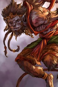 Lord Hanuman the monkey god lunges, his tail trailing behind him.