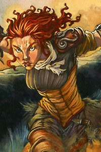 A fierce redheaded woman warrior lunges.