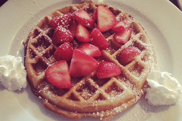 Gluten-Free Waffle with Strawberries - Blue Moon Grill Wakefield via Zomato and Instagram by Laura