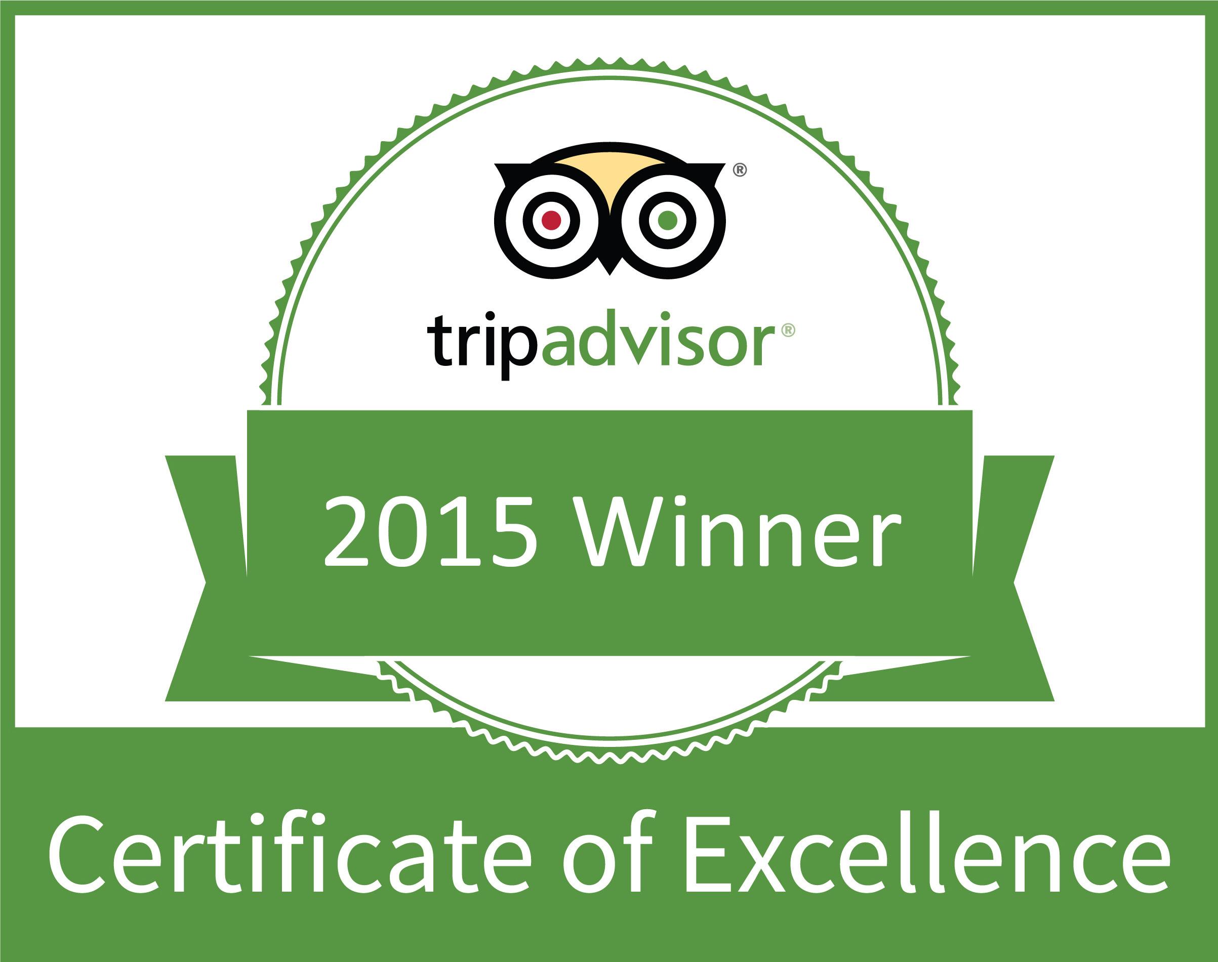 Trip Advisor Certificate of Excellence 2015 Winner