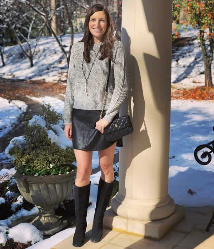 Leather Skirt with Gray Sweater and Black Wedge Boots | Blue Mountain Belle
