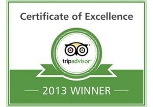 TripAdvisor Certificate of Excellence for 2013