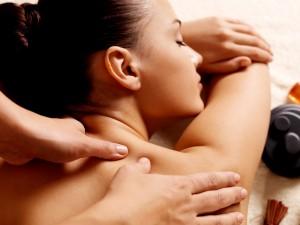 Woman having a back massage