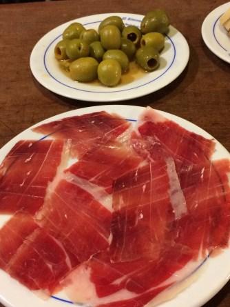 Iberico ham and olives at El Rinconcillo