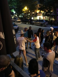 Bachelor party outside Bar L'Inox