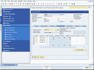 Sample view of SAP Business One's inventory management module: