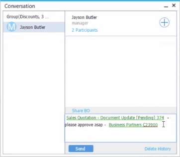 SAP Business One Live Collaboration Conversation Window