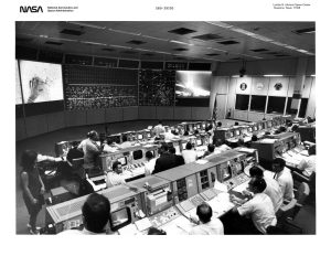 Black and White photo from NASA of the control room, used by Mission Control as the main identity image