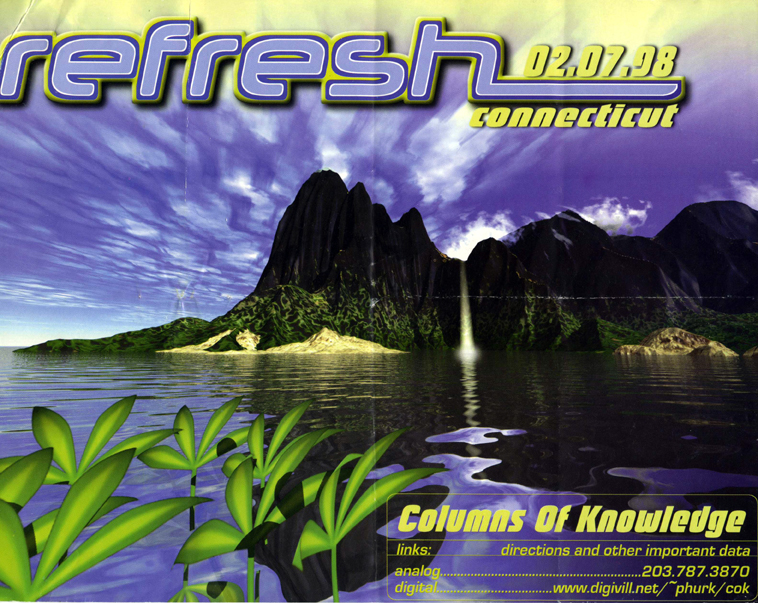 refresh flyer with bright low resolution graphics of mountainscape, grass, a lake, and purple sky