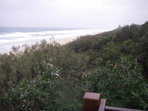 Sunshine Beach, white water to horizon, shows her mood today.